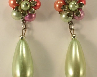 Lime Green Lilac Salmon and Rose Colored Dangle Pierced Earrings