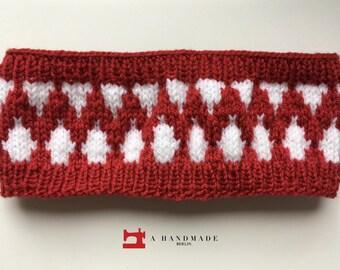 Handmade Knit Headband Dark Red White Mix of Wool and Acryl Earwarmer Winter