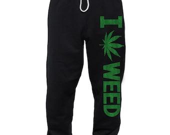 I Love Weed Sweatpants Stoner Gifts Sweats for Men 420 Cannabis pot leaf