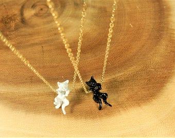Cat Necklace, Black Cat Necklace, White Cat Pendant, Feline Jewellery, Cat Lover Gift