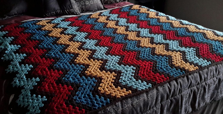 afghan crochet blanket throw lap granny ripple rich earth