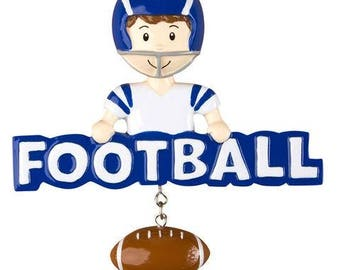 Football Ornament -  Football Player Ornament -  Personalized Christmas Ornament