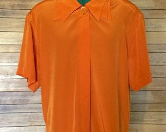 Blouse, Women's Blouse, Orange Blouse, Orange Shirt Women's, 80s Blouse, 80s Shirt, Workwear,  Gift for Women, Gift for Mom, Gift for Her
