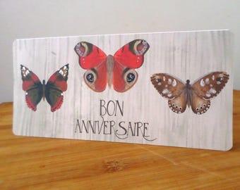Happy birthday Butterfly drawing handmade 21cm x 10cm