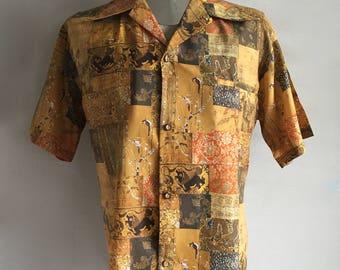 Vintage Men's 60's Ross Sutherland, Hawaiian Shirt, Polyester, Short Sleeve (XL)