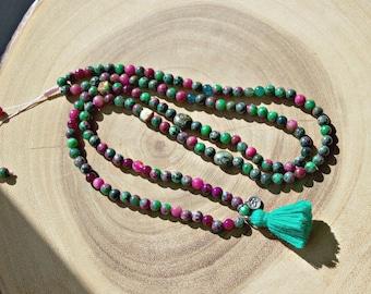 Gemstone Tassel and OM Charm Necklace / GemStone Beaded Necklace