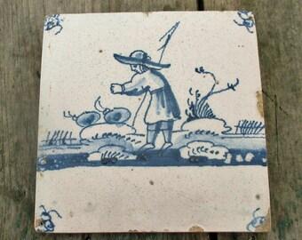 Antique 18th C. Delft Tile Dutch Blue White Fisherman Fisherboy Cute