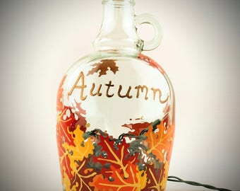 Lighted fall leaves wine bottle, Autumn wine bottle, decorative wine bottle, lit wine bottle, wine bottle with light