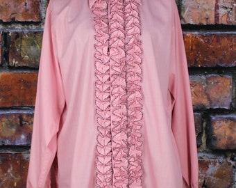 Vintage 1970s Ruffled Pink Tuxedo Shirt