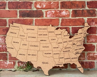 Medium United States Corkboard Map with State Names USA Map Pin Board Gifts for Teachers Educational Classroom Map Office Travel Geography