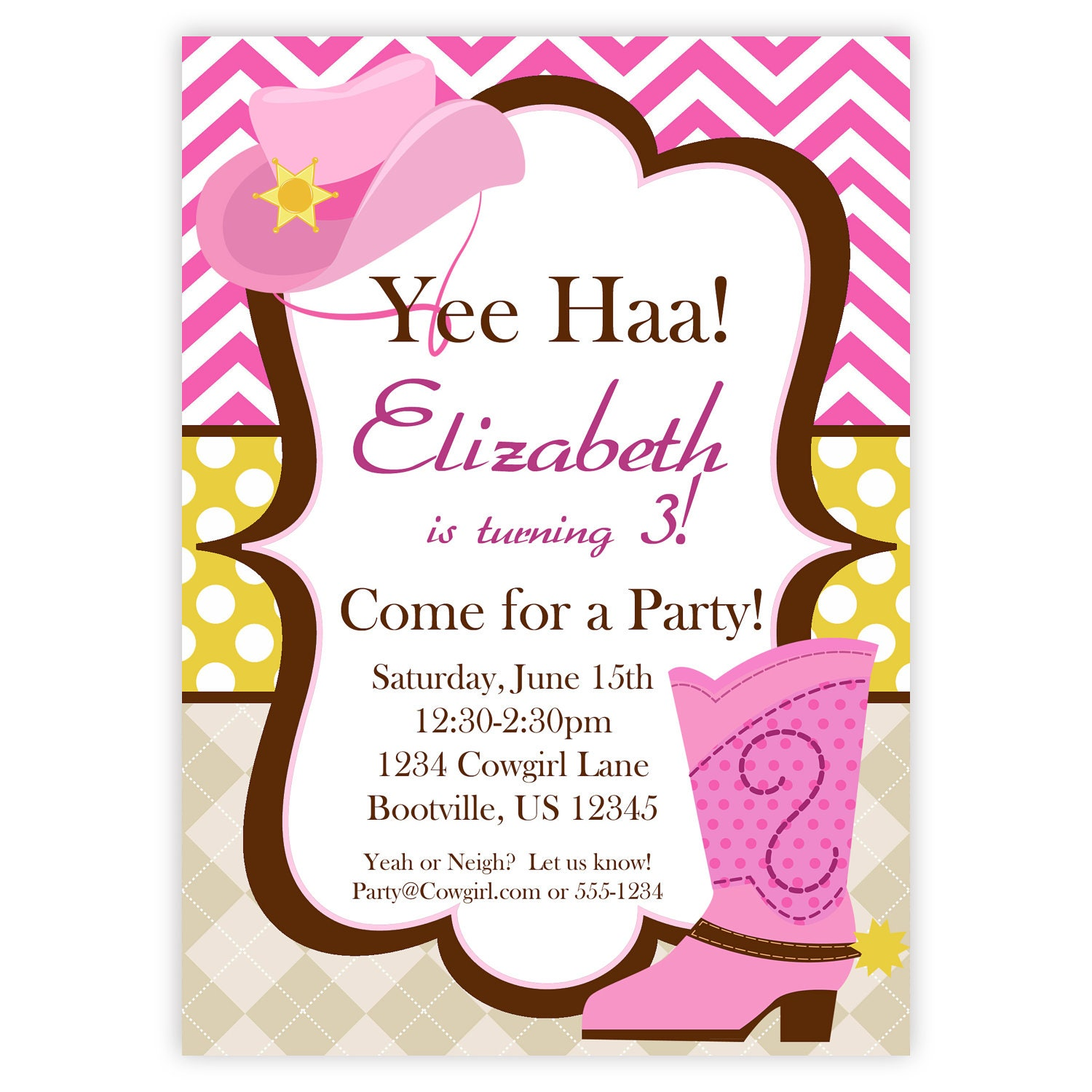 Cowgirl invitation pink chevron argyle polka dot cowgirl zoom filmwisefo Images