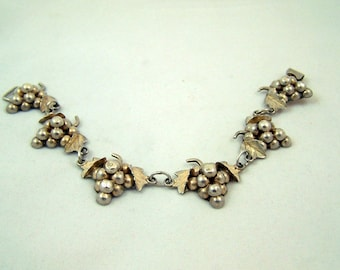 Vintage Taxco Mexico Grape Motif Bracelet
