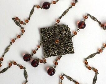 Long Czech Necklace Brass Filigree Amber Rhinestone Necklace