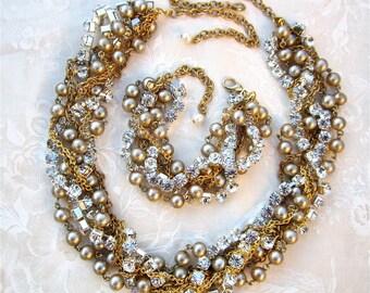 Gold Champagne Twisted Pearl Wedding Set Layered Rhinestone Pearl Necklace & Bracelet Statement Necklace Chunky Bracelet Gold Bridal Set