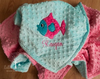 Fish Personalized Minky Baby Blanket, Personalized Minky Baby Blanket, Personalized Baby Gift, Fish Appliqued Minky Baby Blanket