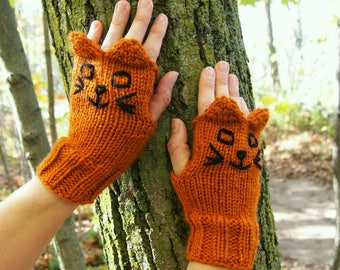 Knit Orange Cat Fingerless Gloves -  Rusty Orange Brown Knitted Cat Texting Gloves - Vegan Knit Orange Fingerless Gloves wi Orange Cat Ears