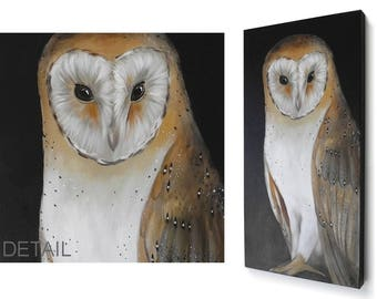 Barn Owl painting - realistic barn owl art on 12x24 canvas wall hanging - autumn decor - neutral fall colors - original wildlife art