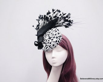 Black Feathers White Lace Hat Fascinator Wedding Spring Racing Carnival Party Special Occasion Melbourne Cup Kentucky Derby Millinery