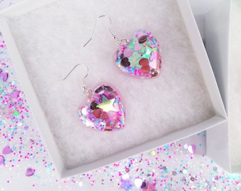 Unicorn Magical Holographic Iridescent Stars Heart Shaped Earrings Glitter Kawaii Kitsch Pastel Candy Rave Holographic Summer Charm
