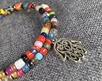 Bright Colorful Glass Beads, Memory Wire Bracelet with Hamsa Hand Charm