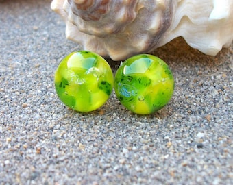 Bright Yellow and Green Fused Glass Stud earrings with Dichroic Sparkles