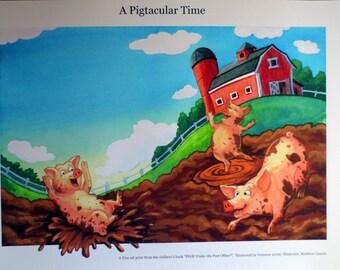 Digital Print of 'A Pigtastic Time' Watercolor Illustration