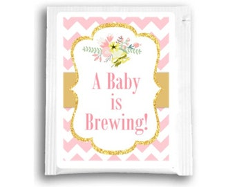 "60 ""Baby Is Brewing"" Pink and Gold Tea Bag Favors, Custom Tea Bags, Floral Baby Shower Tea Favors"