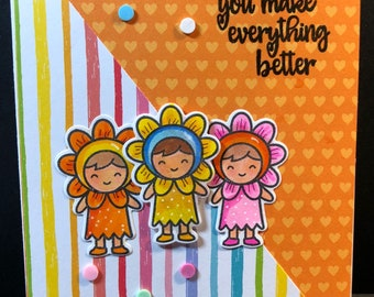 hello, hello card, thinking of you, flower girls