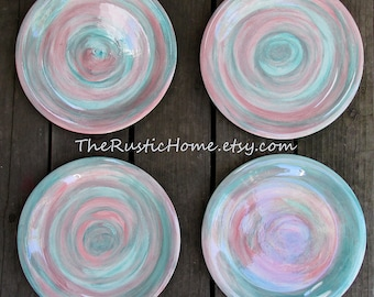 Choose your colors Set of 4 large pastel pottery dinner plates 12 inches large dinner plate beach tableware rustic home