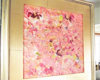 Pink Abstract Painting acrylic on canvas Women's bedroom art Baby Girl Gift Salmon Girls Room Mixed Media gold framed painting 18x18 nursery