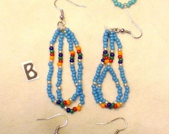 Turquoise Seed Bead Earrings