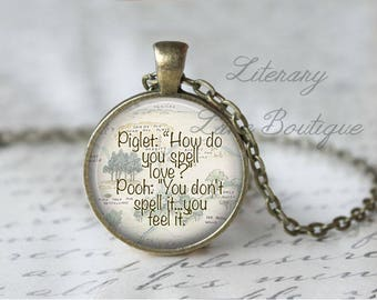 Winnie the Pooh, 'How Do You Spell Love?' Hundred Acre Woods Map, Pooh Illustration, A. A. Milne Necklace or Keyring, Keychain.