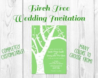 Birch Tree Wedding Invitations- Save The Date- Digital Download- Printable