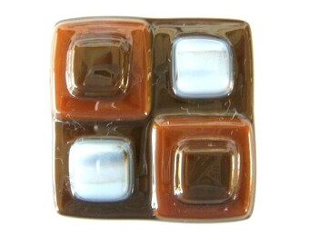 Chocolate Brown, Caramel and Stone Glass Cabinet Knob