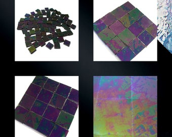Jet Black Iridized Squares Stained Glass Mosaic Tiles Opal Hand Cut
