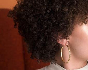 Large Gold Hoop Earrings / 2 inch hoops / dotted sculptural texture / statement jewelry
