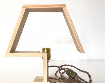 Hand-carved table lamp made of handmade