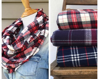Red, White & Navy Plaid Flannel Infinity Scarf - The Basic Scarf
