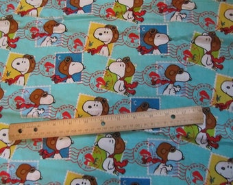 Blue Snoopy Ace Pilot Postage Stamp Cotton Fabric By the Half Yard