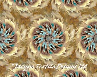 Kaléidoscope fait à la main Tan or velours Turquoise ameublement tissu fibre Art moderne
