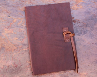 Leather Moleskine Cover Large Notebook- 13x21 cm - Build Your Own Choosing Straps & Pockets- COVER ONLY