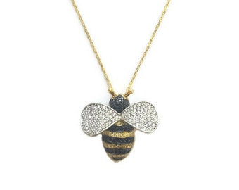 Jewelry, Necklaces, Bee Necklace, Bumble Bee Necklace, Gold Necklace, Gold Bee Necklace, Bee Jewelry, Queen Bee Jewelry, Layering Necklace