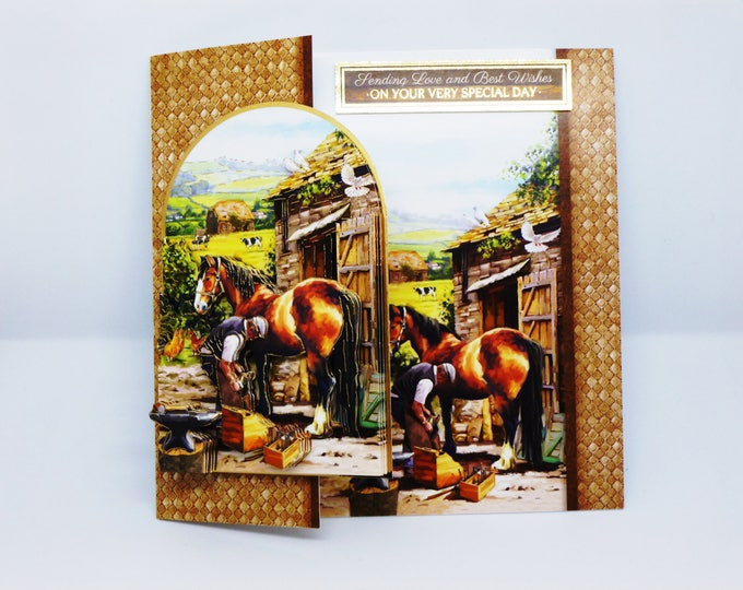 Farrier Man and Horse, Countryside Scene, Farmyard, 3 D Decoupage Card, Birthday Card, Male, Any Age
