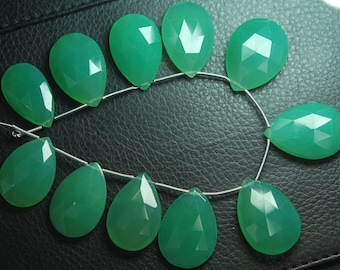 New Arrival, 6 pcs,Super Finest,AAA--Chrysoprase Chalcedony Faceted Pear Briolettes 23-25mm Large Size