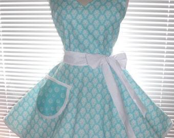 Retro Apron Aqua Blue and White Damask with Circular Flirty Skirt