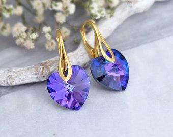 Heart earrings, Swarovski earrings, Purple earrings, Bridesmaid gift, Dainty earrings, Delicate crystal earrings, Rose gold silver earrings