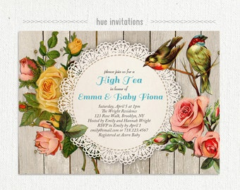 high tea baby shower invitation, shabby woodgrain lace doily birds antique floral rose, rustic chic sip and see baby shower, 5x7 jpg pdf 395