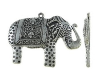 4pc antique silver finish 49x38mm elephant pendants-5066