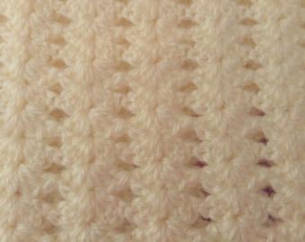 Hand crocheted Crib Blanket or Stroller Blanket #505