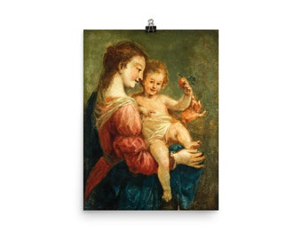 Religious Poster - Madonna and Child by Jean-Honoré Fragonard - Virgin Mary and Child Jesus - art print - catholic faith